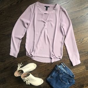 Forever 21 Purple Wrap Blouse With Neck Cutout